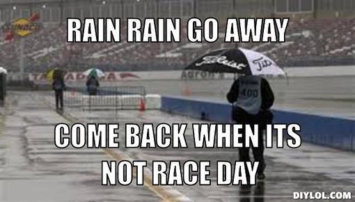 rain race day rain rain go away! practice thur dec 18th and race sat dec 20th